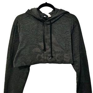 Adidas Charcoal Dark Gray Raw Hem Crop Top Hoodie